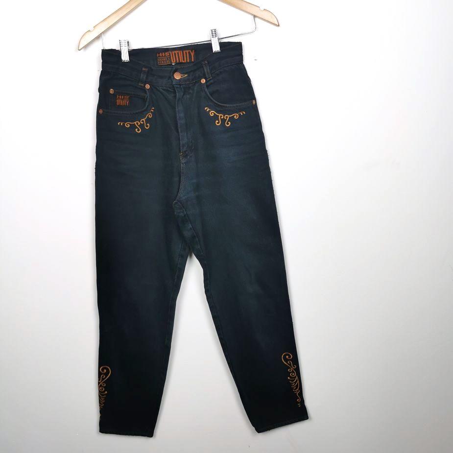 HIS-bestickte-80er-90er-damen-vintage-jeans-hose-hohe-taile-jeans-xs-s