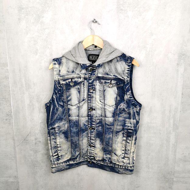 gebrauchte jeans weste mit kapuze groesse s