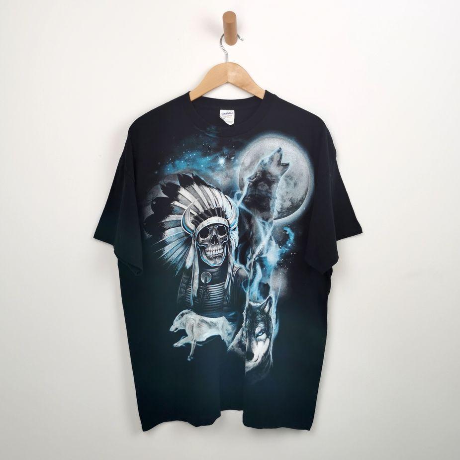 herren-rock-t-shirt-vintage-totenkopf-und wolf-print