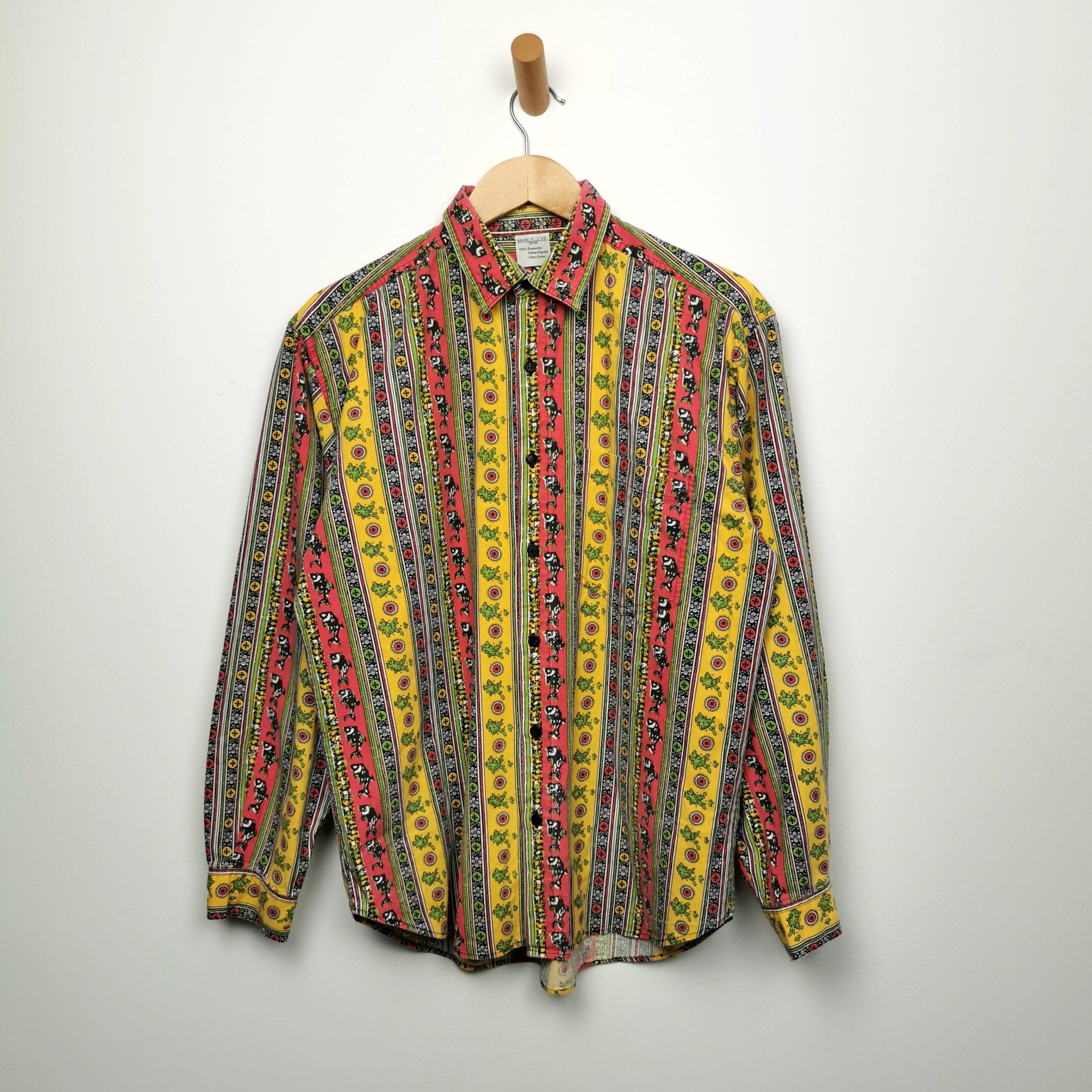 70er Herren Vintage Hippie Hemd Crazy Pattern Grosse M Cotton Shirts Studio 90 S Sportswear Vintage Fashion