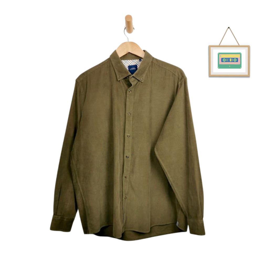 herren-vintage-cordhemd-groesse-l-grün-front