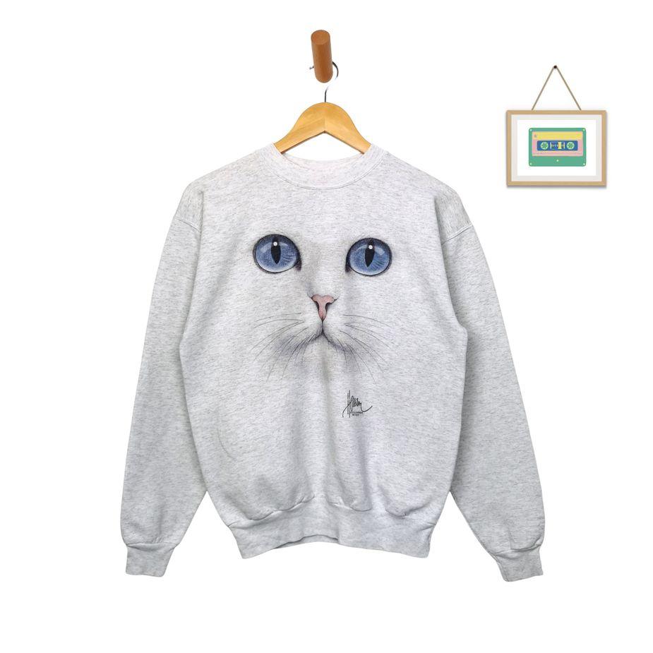 90er-hanes-vintage-pullover-frauen-katzen-print-s-mart-sweater-front