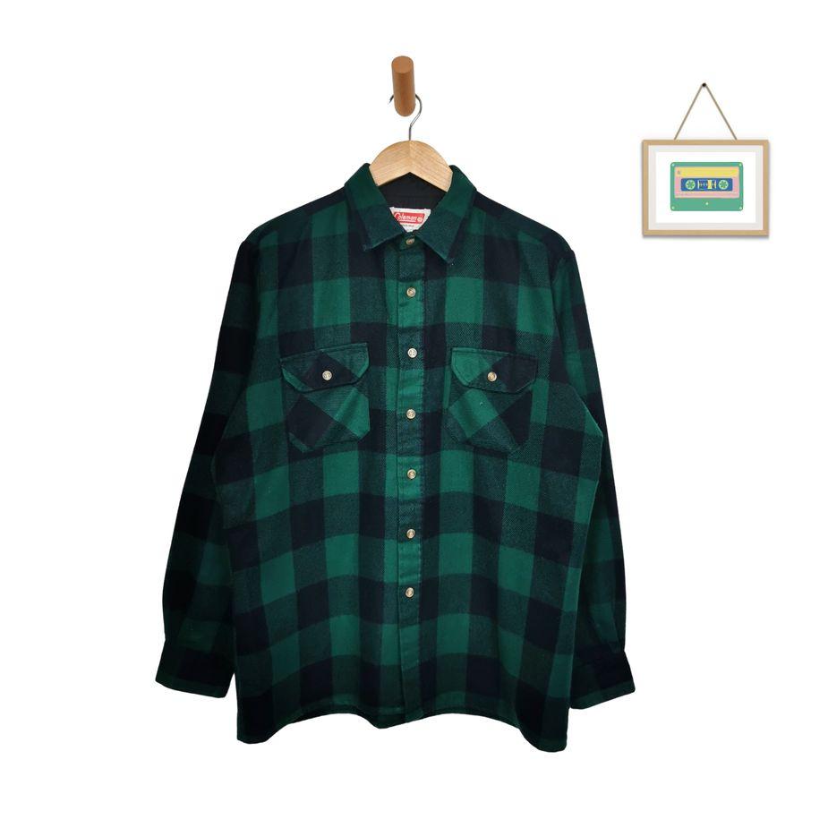 herren-flanell-vintage-hemd-karo-grün-schwarz-coleman-70er-jahre-hemden-front