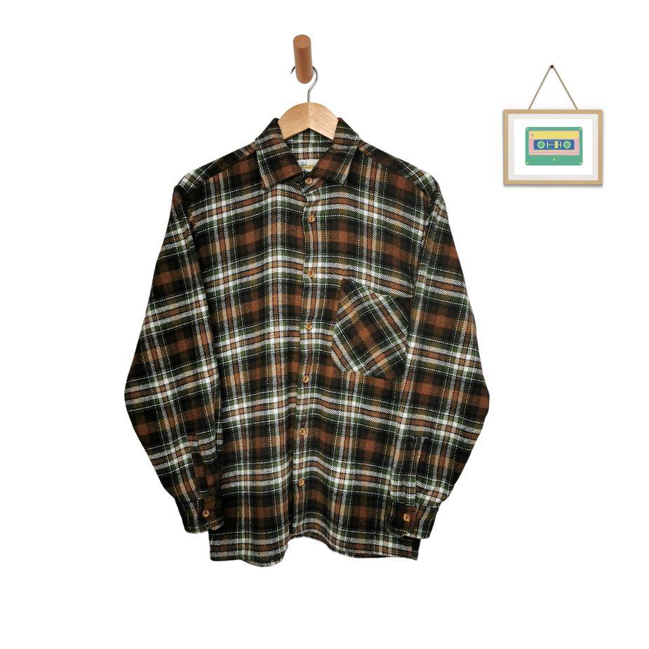 herren-vintage-hemd-wolle-kariert-60er-70er-herrenhemd-langarm-flanell-mehrfarbig-groesse-m-front