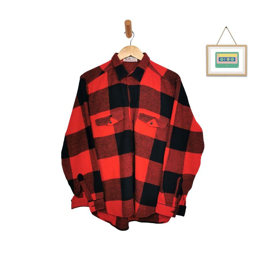 vintage-flanell-hemd-wollhemden-kariert-maenner-rot-schwarz-chemise-mode-groesse-l-front