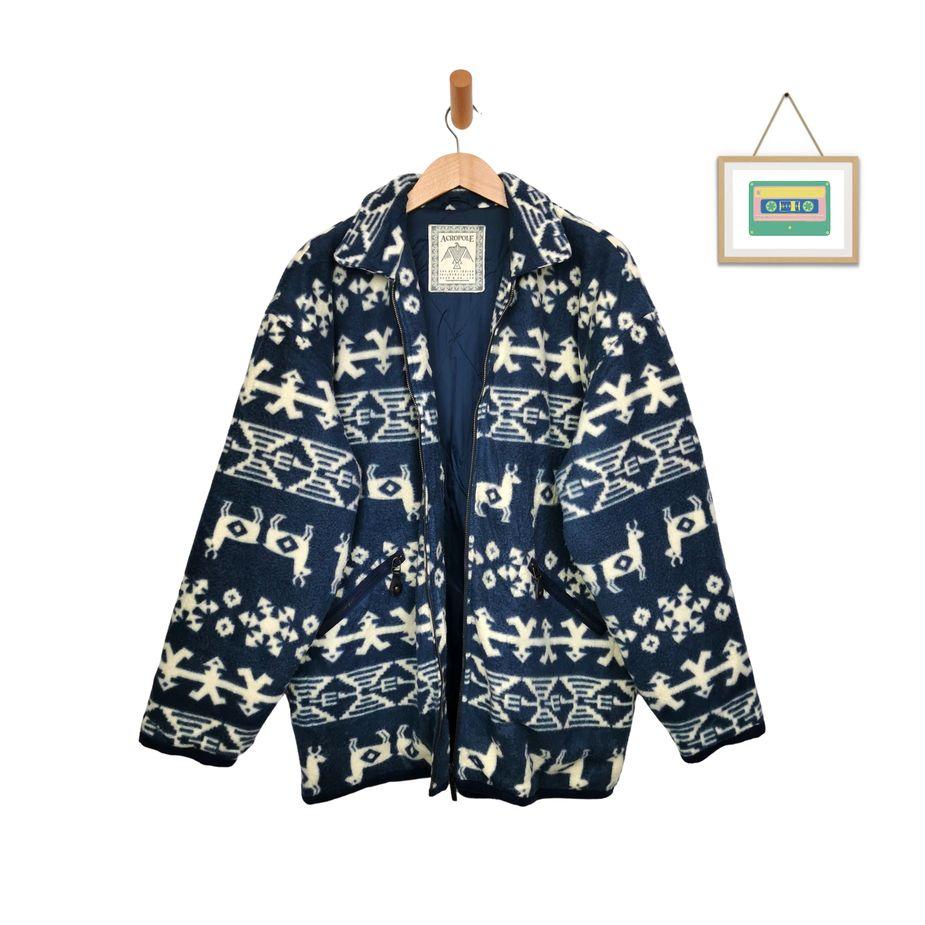 vintage-navajo-mantel-fleecejacken-ethno-muster-blau-beige-alpaka-groesse-xl-xxl-front