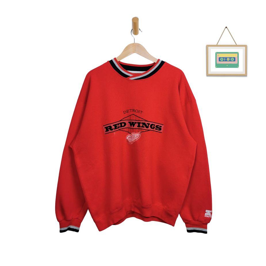 90s-detroit-red-wings-starter-sweater-vintage-herren-pullover-logo-gestickt-xxl-front