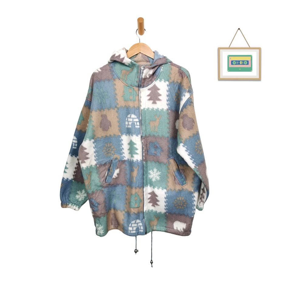 frauen-vintage-fleecejacke-mit-kapuze-pastell-pattern-front
