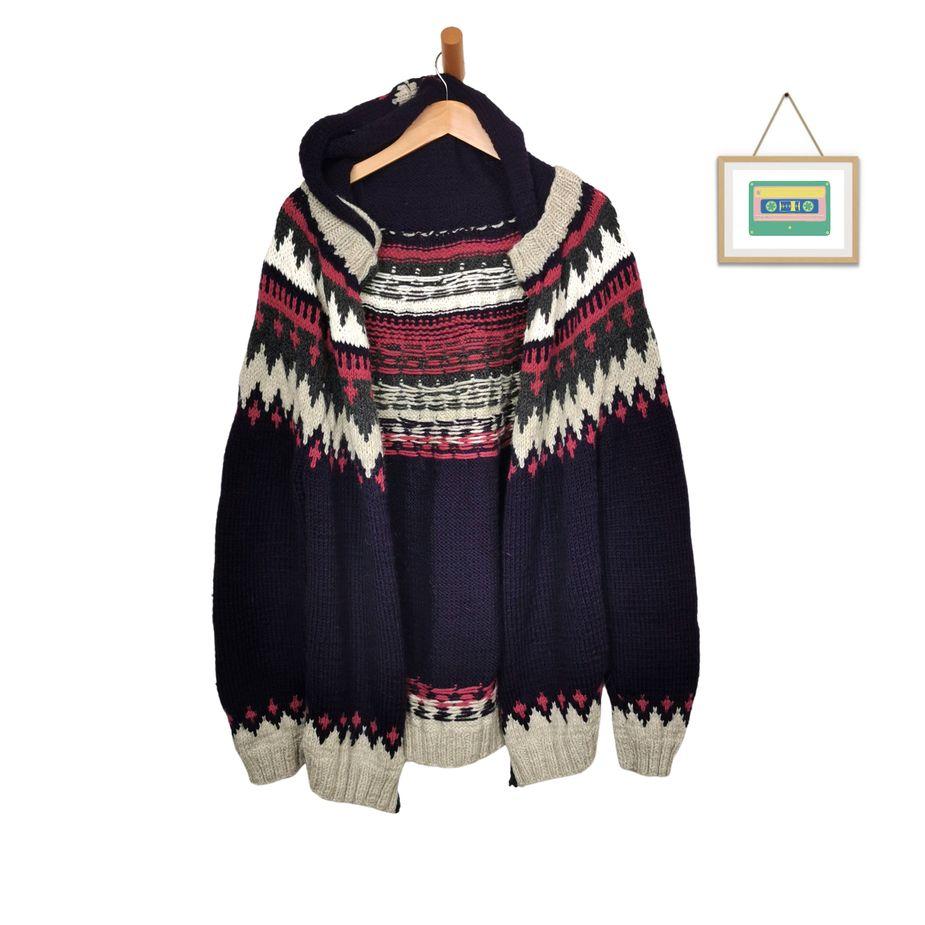 vintage-norweger-cardigan-lila-wolle-strickjacke-front