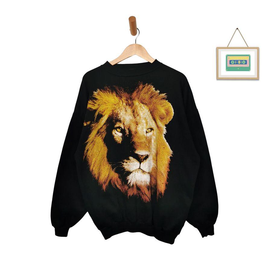 vintage-pullover-löwen-print-oversize-xxl-usa-fashion-front