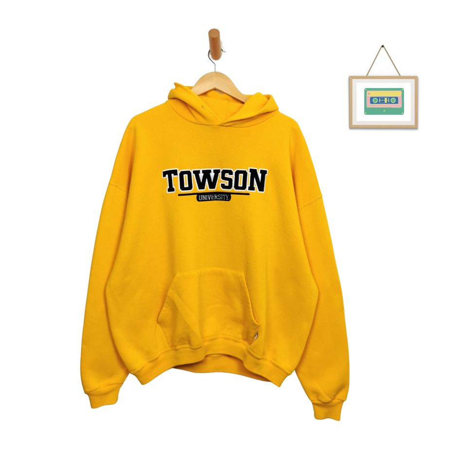 vintage-russell-atheletic-college-hoodie-gelb-towson-universität-xxl-front